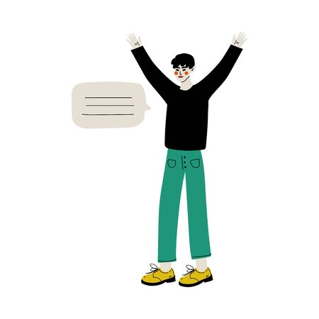 Young Man Communicating with Speech Bubble Flat Vector Illustration on White Background.