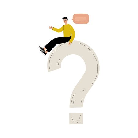 Young Man Sitting on a Big Question Mark, Person Communicating, Making a Choice or Seeking Solution to a Problem Vector Illustration on White Background. Ilustração