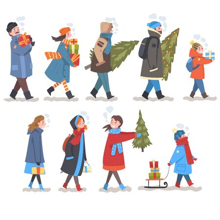People in Winter Clothing Carrying Gift Boxes and Fir Trees Set, Men, Women and Children Preparing for Christmas and New Year Vector Illustration on White Background. Illustration
