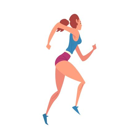 Young Woman Running, Professional Sportswoman Character in Sportswear Jogging, Active Sport Lifestyle Vector Illustration Reklamní fotografie - 133572181