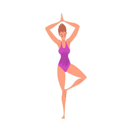 Young Woman Practicing Yoga in Tree Pose, Active Healthy Lifestyle Vector Illustration 스톡 콘텐츠 - 133572193