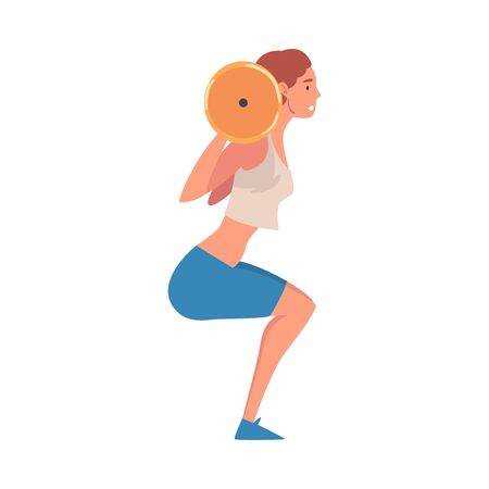 Sportive Young Woman Lifting Barbell, Active Sport Lifestyle Vector Illustration