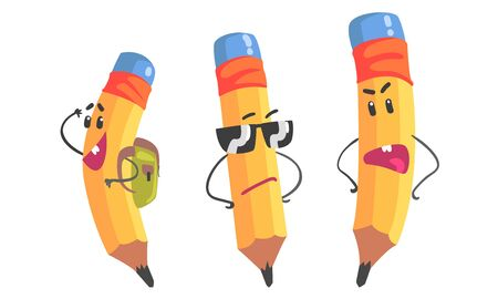 Set of yellow humanized pencils with a blue eraser on a wallet, a backpack and sunglasses. Vector illustration
