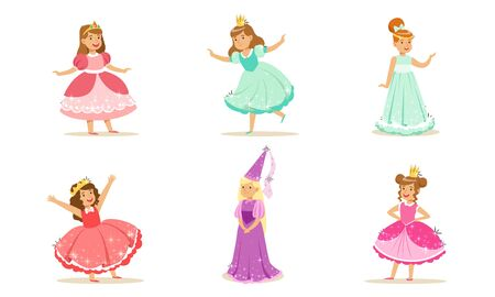 Lovely girls in princess dresses with gold crowns and tiaras. Vector illustration