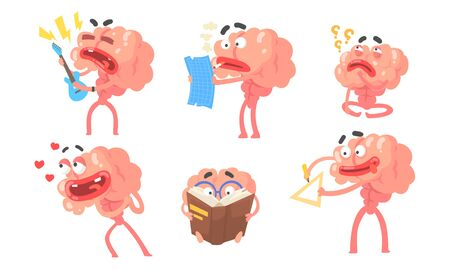 Set of cartoon humanized brains with arms and legs. Vector illustration.