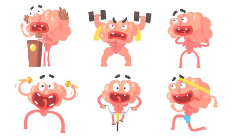 Humanized cartoon brain with a big mouth. Vector illustration.