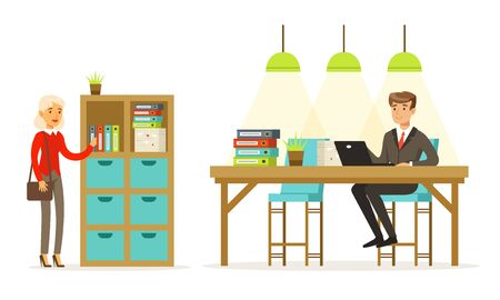 Man and woman in the office. Vector illustration. Banque d'images - 133572188