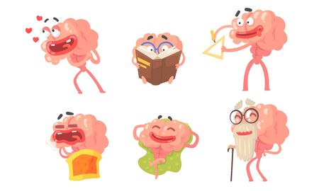 Humanized cartoon brain with a face. Vector illustration.