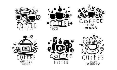 Set of logos for a coffee shop. Vector illustration.