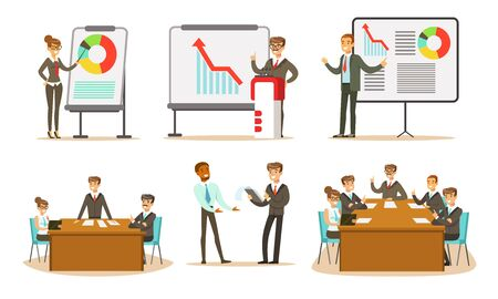 People at the presentation show different graphs. Vector illustration. 일러스트