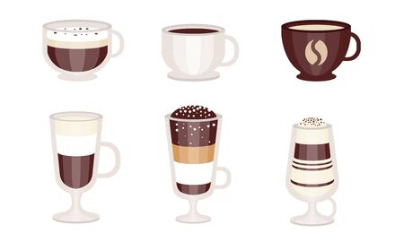 Different types of coffee in mugs and glasses. Vector illustration. Zdjęcie Seryjne - 133572195