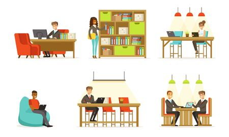 Men and women work in the office. Vector illustration.