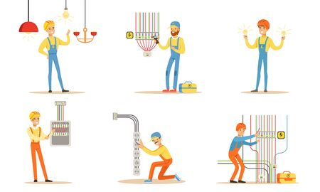 Electrician in uniform next to many wires. Vector illustration.