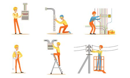 Electrician in uniform is working. Vector illustration.