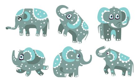 Cute gray elephant with a pattern. Vector illustration.