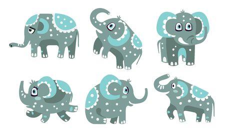 Cute gray elephant with a pattern. Vector illustration. Фото со стока - 133572199