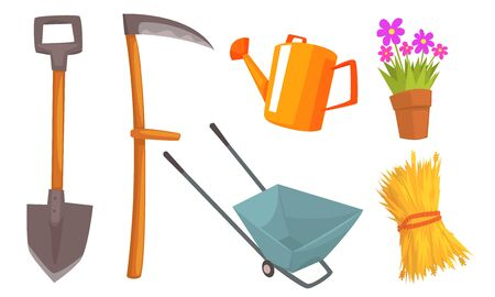 Different tools for a farm and a flower in a pot. Vector illustration. Illustration