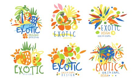 Set for exotic countries. Vector illustration.