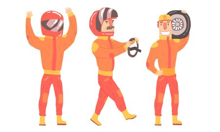 Men in orange rider suits. Vector illustration Stock Illustratie