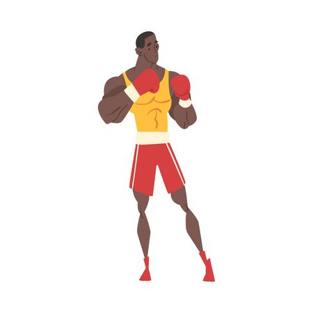 Male Boxer Character in Sports Uniform and Boxing Gloves, Active Sport Lifestyle Vector Illustration  イラスト・ベクター素材