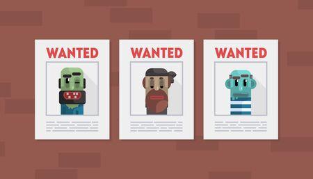 Plantilla de banner de delincuentes buscados, carteles con fotos de hombres arrestados ilustración vectorial, diseño web.