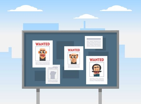 Wanted Criminals Banner Template, Placards with Arrested Men Photos on a Billboard Vector Illustration, Web Design. Ilustrace