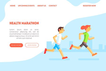 Healthy Marathon Landing Page Template with Running People, Active Lifestyle Website Vector Illustration, Web Design. 일러스트