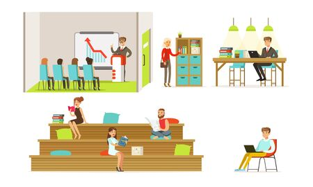 People in the office and at the training. Vector illustration. Illustration