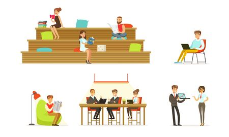 People read books, documents and work on a laptop. Vector illustration.