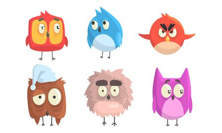 Cartoon birds with big eyes. Vector illustration. 向量圖像