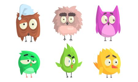 Cartoon birds with eyebrows. Vector illustration on White Background.
