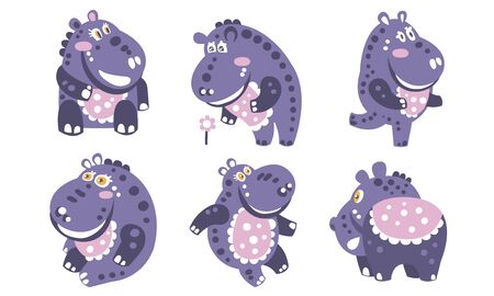 Violet cartoon hippo with a pattern. Vector illustration.