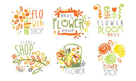Set of contour   for a flower shop. Vector illustration.