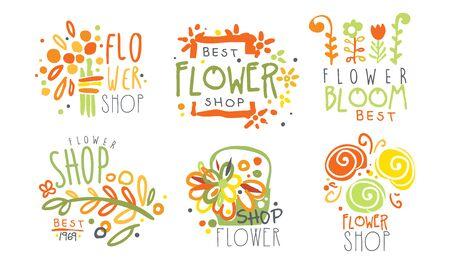 Set of contour   for a flower shop. Vector illustration.