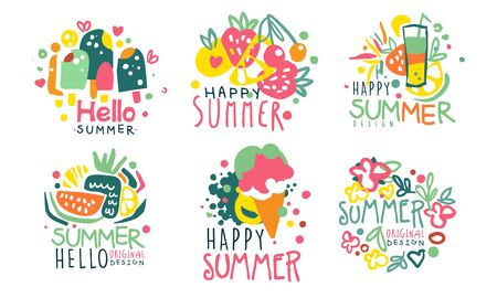 Set of summer   in pink with yellow and blue colors. Vector illustration. Foto de archivo - 133572922