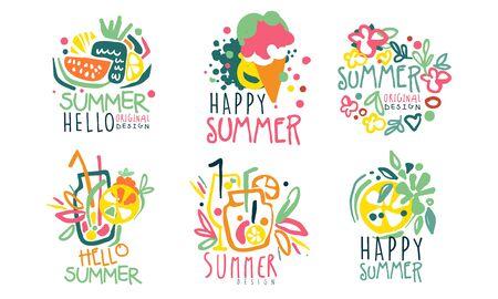 Set of summer  with lettering. Vector illustration. Foto de archivo - 133572923