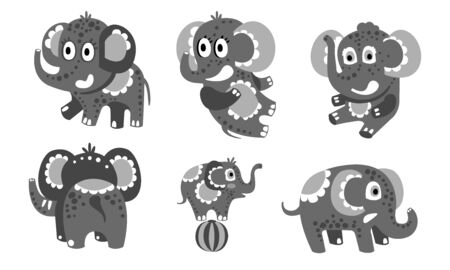 Set of cute dark gray elephants. Vector illustration. Иллюстрация