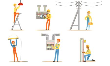Electrician in a helmet and uniform works. Vector illustration. Ilustrace
