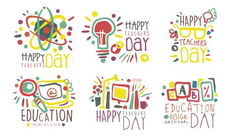 Set of outline drawings with lettering for the celebration of teacher s day. Vector illustration. Vectores