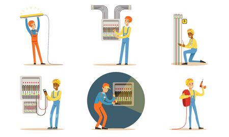 Electricians in uniform repair wiring. Vector illustration. 向量圖像