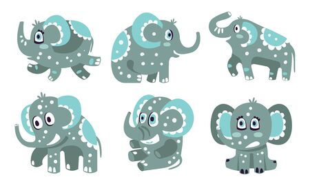 Cute gray elephants with a pattern. Vector illustration.