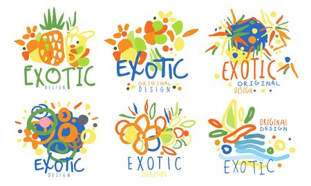 Set of abstract for exotic countries. Vector illustration.