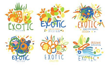 Zestaw streszczenie dla egzotycznych krajów. Ilustracja wektorowa.