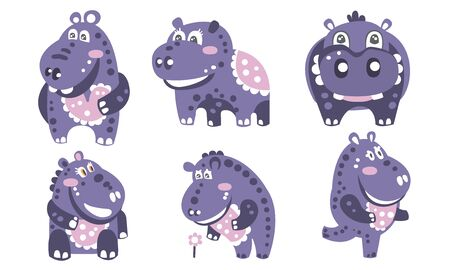Set of cartoon purple hippos with a pattern. Vector illustration.