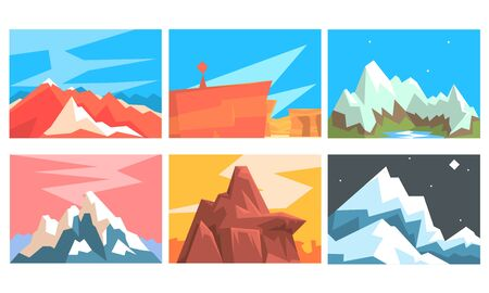 Set of cards of red and gray mountains in origami style on a background of day and night sky. Vector illustration.  イラスト・ベクター素材