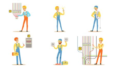 Group of electricians in blue and orange overalls check the wiring, hold the wires and a light bulb. Vector illustration Иллюстрация