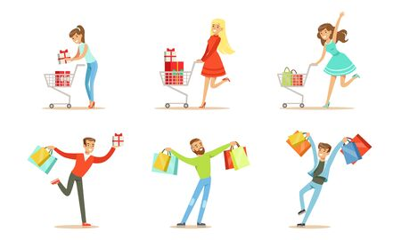 Joyful people with lots of packages and boxes in their hands and shopping trolleys. Vector illustration Vektoros illusztráció