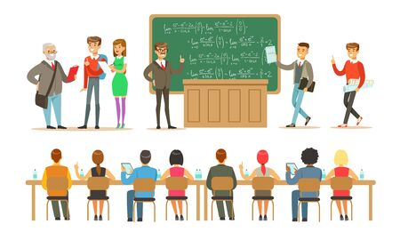 Students in the classroom with a blackboard communicate with the teacher and study. Vector illustration. Ilustrace