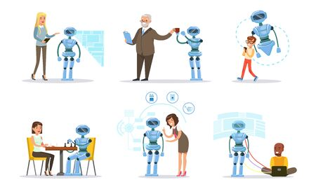 Using gadgets and a virtual menu, people customize the work of the assistant robot. Vector illustration.