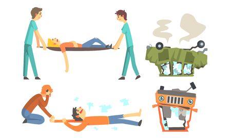Los coches destrozados después del accidente se vuelven patas arriba. Los médicos llevan a la víctima en una camilla. Ilustración vectorial. Ilustración de vector